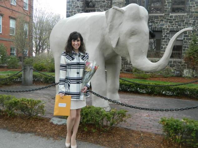 Amanda Merrill with Tufts University Mascot Jumbo the Elephant