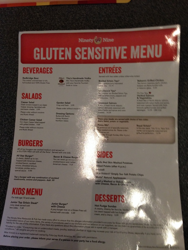 Gluten Sensitive Menu