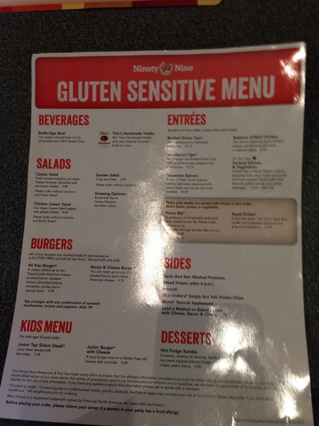 Gluten Sensitive Menu